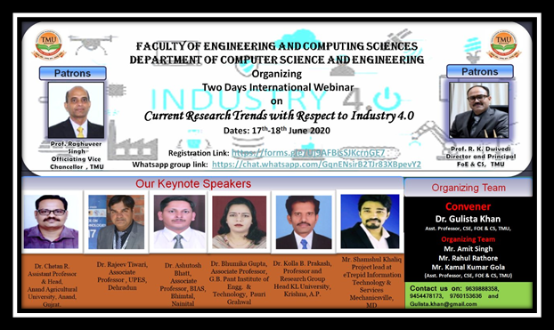 International Webinar on Current Research Trends with respect to Industry 4.0